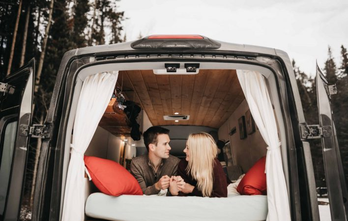 Nicole Alex Photography enjoying van life in Banff National Park, Alberta.
