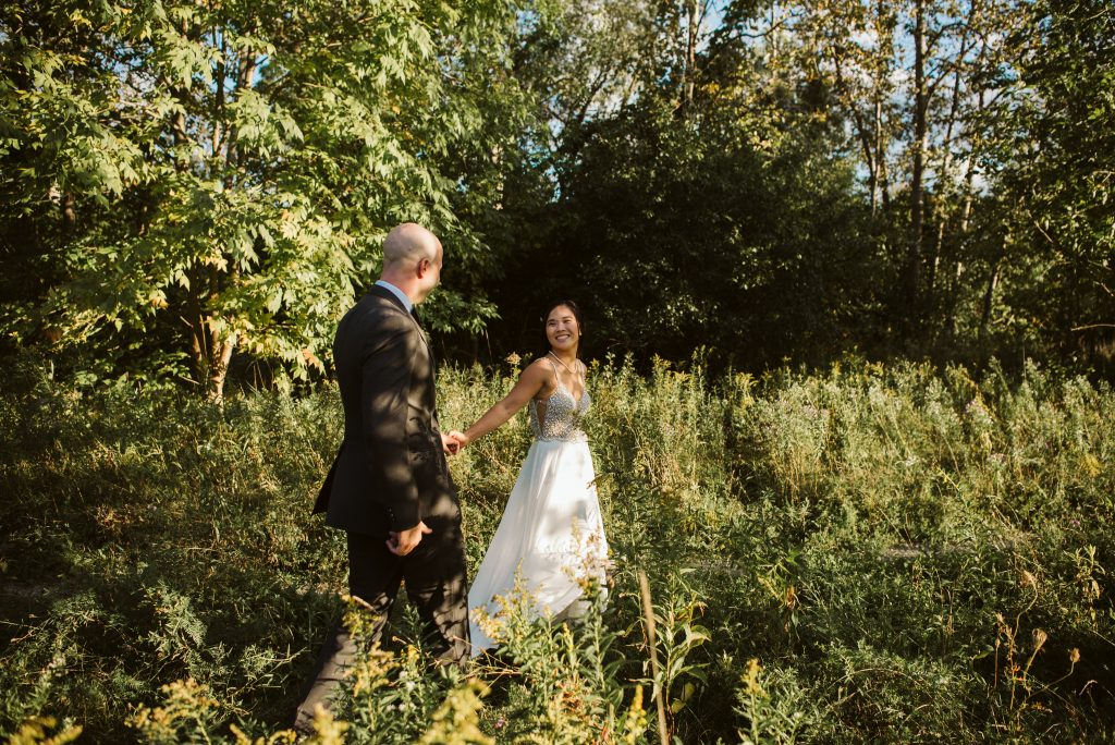 A beautiful summer elopement in the flower fields at Country Cut Flowers a flower farm in Newmarket, Ontario.